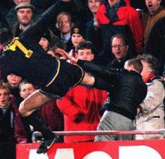Note: neither of the two most famous kung-fu kicks in footballing history resulted in red cards. Cantona had already been sent off for kicking Richard Shaw.